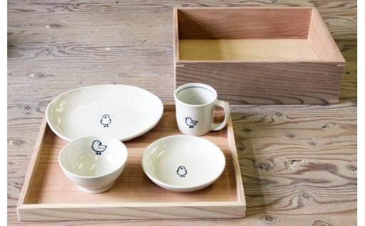 干支、名入れOK★子ども用食器セット木箱つき