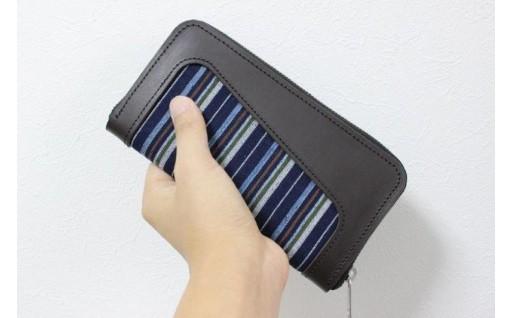 手織りと天然レザーの長財布