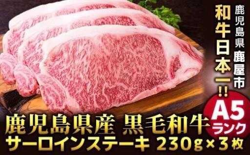 A5等級 鹿児島県産黒毛和牛サーロインステーキ230g×3枚