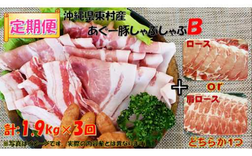 【定期便】東村あぐ~豚しゃぶしゃぶB(計1.9kg×3回)