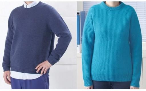 大江の職人手動編みオーダーメイドカシミア100%丸首セーター