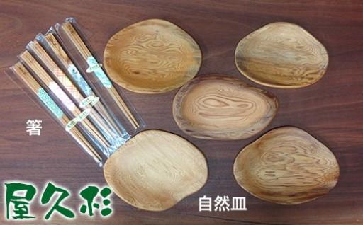 屋久杉自然皿&屋久杉箸5客セット