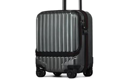 フロントオープン スーツケース  Sサイズ(ガンメタリック)