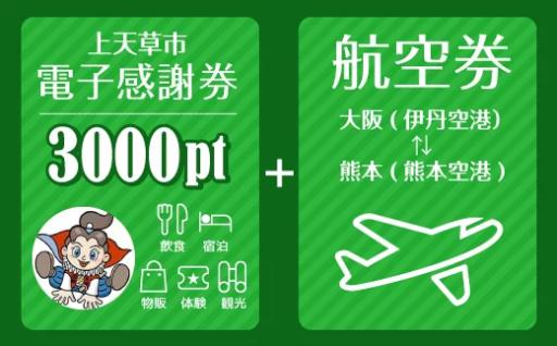 【大阪⇔熊本】 往復航空券+感謝券3,000pt