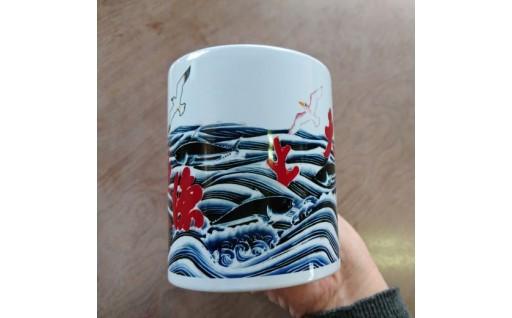 染物職人と印刷屋がコラボレーションした縁起物マグカップ!