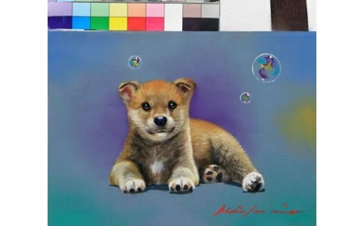 八代亜紀 油彩画 特別プラン 絵画 1点 犬