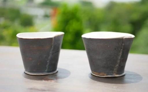 陶房大政 ブロンズ釉巻カップ(ペア)