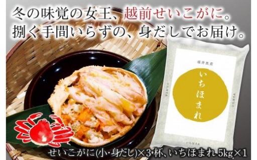 福井県民の愛する味!せいこがに身だし3杯といちほまれ5kg