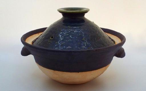 富津産稲ワラ灰の釉薬で仕上げた「ご飯炊き土鍋」(二合)