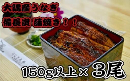 職人による備長炭焼き大隅産うなぎ150g以上×3尾!!