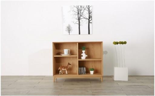 天然木の無垢材とツキ板で作り上げた素材感の美しいシェルフ