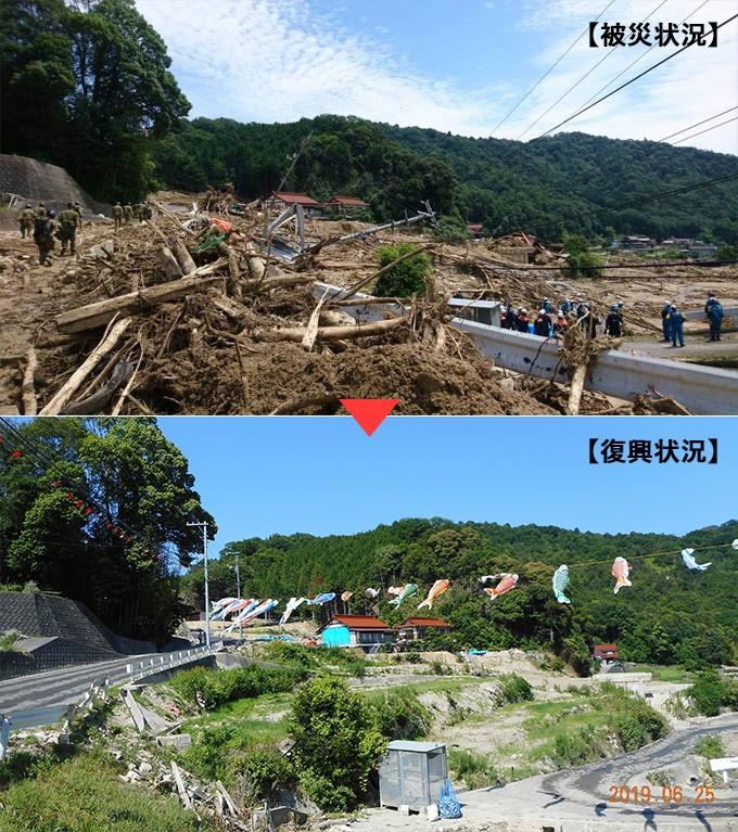 平成30年7月豪雨災害の発生から、1年を迎えました。  これまで、ふるさと納税を始めとし、全国の皆さまから多くのご支援を頂き、誠にありがとうございました。  現在、道路、河川、水道施設などの応急復旧は、おおむね終わり、ほとんどの地域で通常の生活を取り戻しつつありますが、被災者支援や道路や砂防ダム等のインフラ整備などの復興に向けた取組には、長い期間が必要です。  引き続き,皆さまからの温かいご支援をよろしくお願いいたします。  なお、市中心部にある「大和ミュージアム」や「てつのくじら館」、豊町(ゆたかまち)にある北前船の主要な港町として栄えた御手洗地区などの観光地は、これまでのようにお越しいただけます。