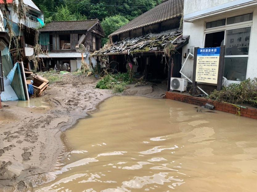 球磨川の氾濫により水につかった一勝地界隈