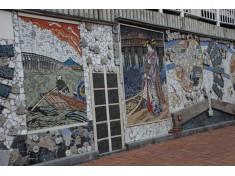 墨田区障がい者就労支援エコモザイクアートプロジェクト~寄付者を壁画白大理石に金字彫り~