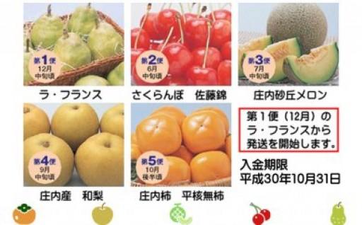 フルーツ王国「山形」の旬の味を5回お届け!