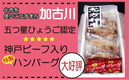 五つ星ひょうご認定神戸ビーフ入り特製ハンバーグ