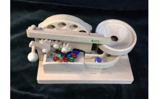 木のおもちゃ「ビー玉からくりプチ円盤トルネード」