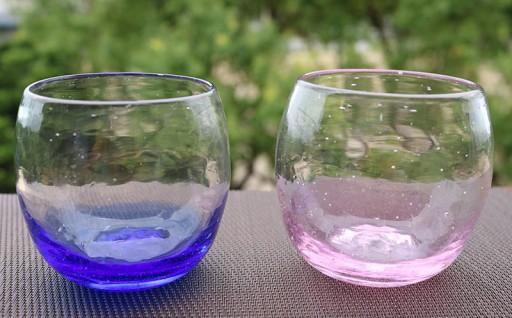 琉球ガラス(グラス2個セット)ブルー×ピンク