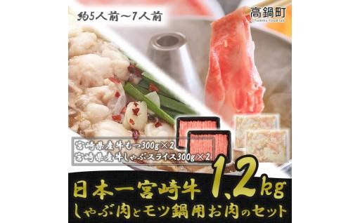 宮崎牛しゃぶ肉600gモツ600g計1.2kg