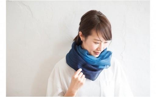 藍染シルク100%スカーフ【「風をまく」感覚】