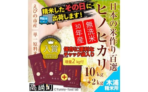 H30宮崎県えびの市産ヒノヒカリ10kg+2kg