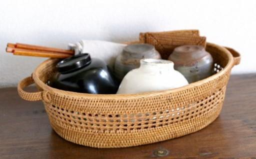バリ島発アタ製品 透かし編みお茶碗かご