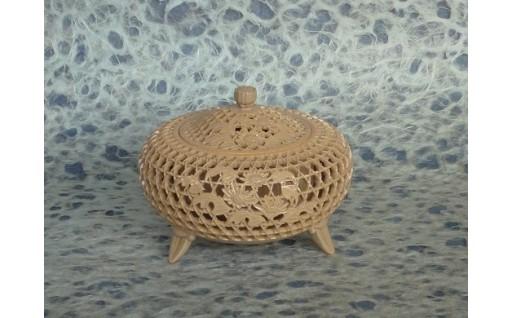 萩焼香炉「籠目透彫花付香炉」