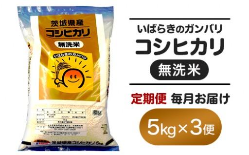 3ヵ月連続お届け!茨城県産無洗米コシヒカリ5kg
