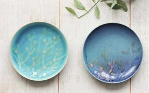 <珊瑚のハンドメイドプレート>小皿(2枚)