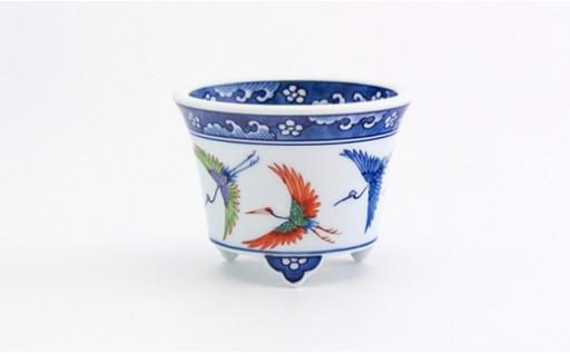 【チョイス限定】染錦舞鶴(盆栽鉢) 源右衛門窯