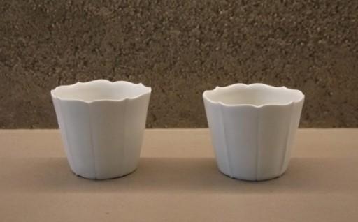 幻の焼き物「臼杵焼」稜花蕎麦猪口(白)2個セット