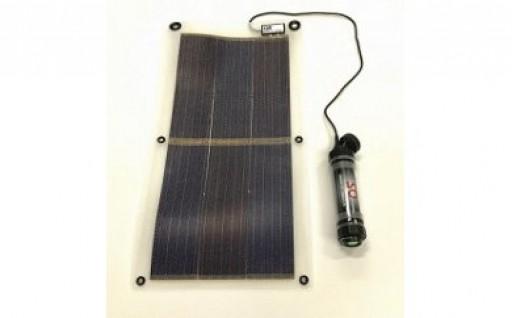 ソーラー発電シートとバッテリー