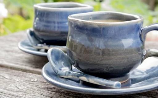 あすもり窯のコーヒーカップ【藍色】×2セット