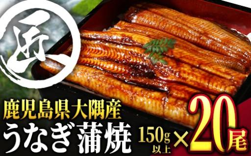 鹿児島県大隅産うなぎ蒲焼20尾(計3kg)