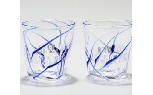 ペア三角グラス(銀箔×青・白) 川原有造作