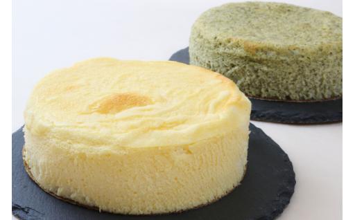 スフレチーズケーキ『プレーン&モロヘイヤ』