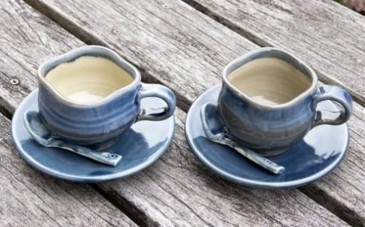 あすもり窯コーヒーカップ【藍色】スプーン・お皿付