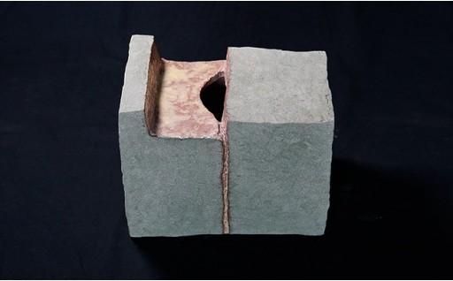 創作陶器・花器 「緑彩箱花器」