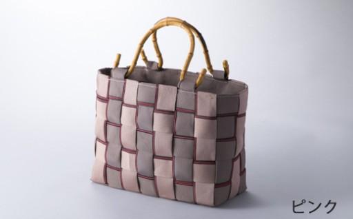 国産畳縁(大宮縁)で作った箱編みバッグ