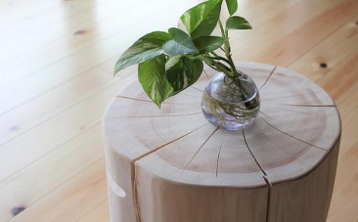 ☆無印奈良品の家具☆檜の丸太イス(取っ手付き)