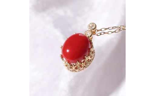 K18 日本産血赤珊瑚王冠クラシカルネックレス