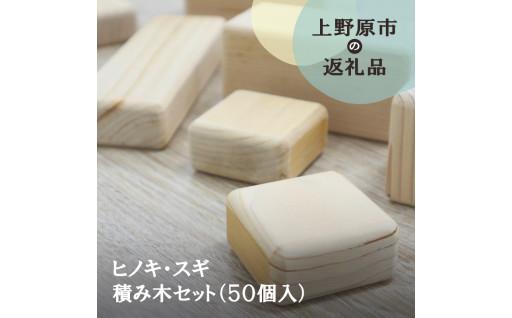 手作りのヒノキ・スギ積み木セット(50個入)