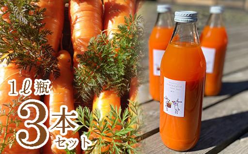 にんじんジュース1L瓶3本【自家栽培・有機農法】