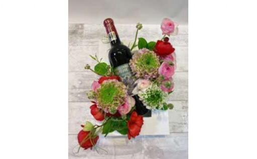 生花とワインのギフトセット/ボックスアレンジ
