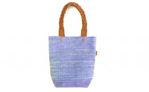 さき織りした布で手織りの1点物のバッグ♪