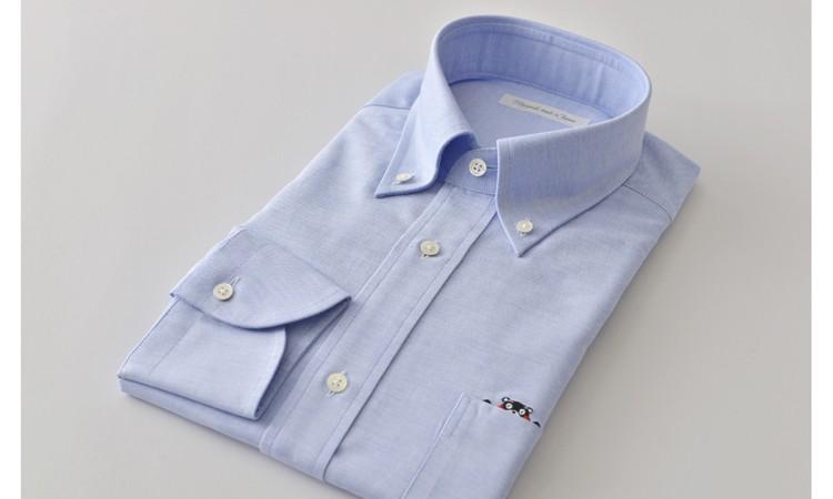 [№5636-0109]くまモンHITOYOSHIシャツ(青)紳士用