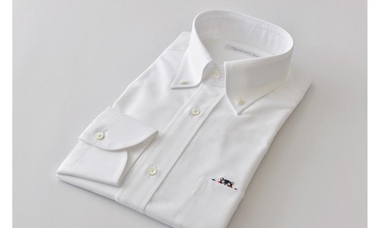 [№5636-0108]くまモンHITOYOSHIシャツ(白)紳士用