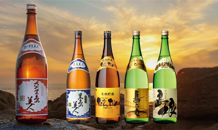 長島本格焼酎 飲み比べ5本セット(特製グラス付き)