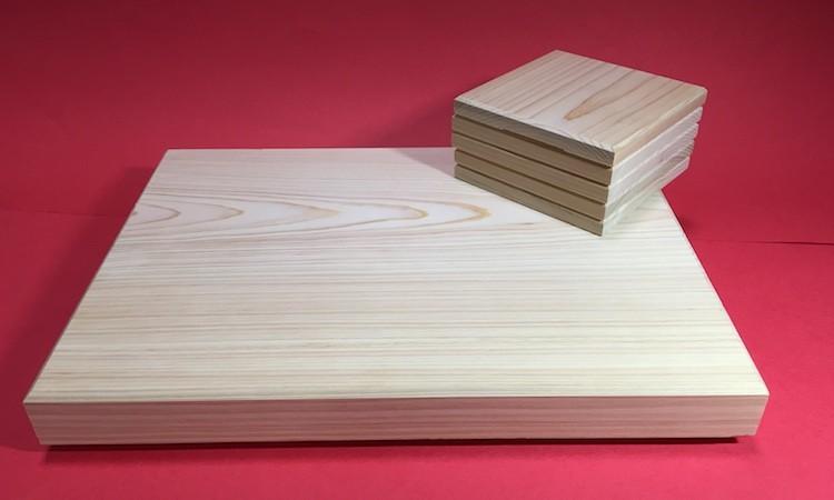 B3-01.檜のコースター5枚とミニまな板セット