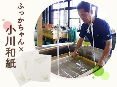「埼玉県伝統工芸館」と「久保和紙工房」、2つの工房の職人さんにより製作されたコラボ品です。 小川といえば和紙と言われるほど有名な小川和紙。起源についてはさまざまな説がありますが約1,300年の歴史があるとされ、そのあたたかみのある素朴な風合いは今も人々を魅了しています。 かわいいふっかちゃんのデザインと小川和紙のかもしだすあたたかみのコラボ、ぜひ直に触れて感じてください。